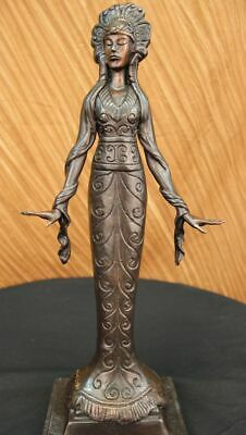 Princess Girl Indian American Native Signed Handcrafted Bronze Sculpture Art T