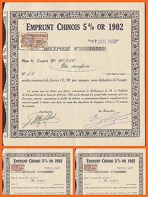 Chinese emprunt Chinois 5% or 1902, Coupon, EX-AU RARE!!!!!!!!!!!