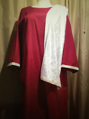 Emperor Caesar Roman Senator Toga Tunic 2 Pc-Gown Pantheon Costume-Large-New