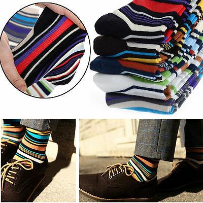 5 Pairs Lot Men Designer Fashion Dress Socks #U Casual Striped Style Multi Color