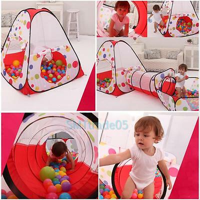 3 In 1 Indoor Kids Baby Play Tent Play House Tents Tunnel Ball Pit Toy Xmas Gift
