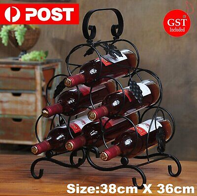 Wine Bottle Rack Cabinet Holder Storage Metal Display Table Top Kitchen Decor