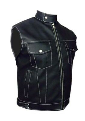 Mens Biker Style Vest Waistcoat Real Cow Leather Black Motorcycle