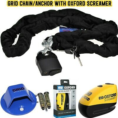 GRID CHAIN LOCK 180cm MOTORBIKE+GRID ANCHOR+OXFORD SCREAMER ALARM DISK LOCK+DLR