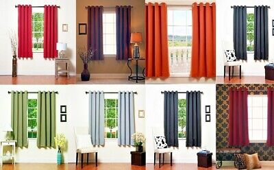 """1 Panel Solid Grommet Window Curtain Foam Lined Blackout Thermal Many Colors 63"""""""