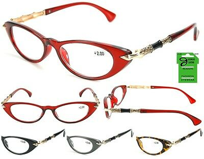 68d8cf3c78c7 Georgio Caponi Ladies Cateye Reading Glasses Readers with Metal Accent  Temple