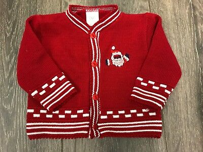 baby babies cardi BOYS CARDIGAN red white Santa XMAS CHRISTMAS DAY OUTFIT