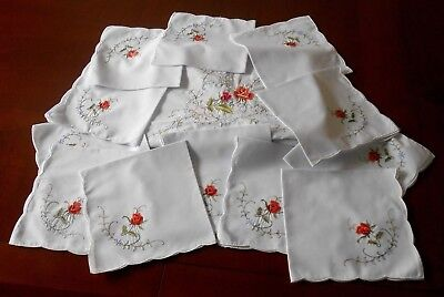 """13 pc White Cotton Embroidery Red Rose  Oblong Tablecloth  Napkin Set 84"""" x 70"""""""