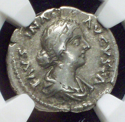 NGC Ancients ROMAN EMPIRE *COLOSSEUM HOARD* VF Faustina Date 147-175 AD Denarius