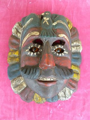 Very Old Vintage Polychrome Guatemalan Carnival Mask With Glass Eyes