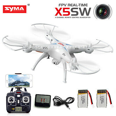 Syma X5SW Wifi FPV 2.4Ghz 4CH RC Quadcopter Drone w/ Camera +2 Batteries+Charger