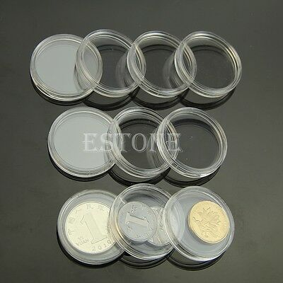 10 x Applied Clear Round Cases Coin Storage Capsules Holder Round Plastic 26mm