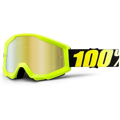 100% Percent NEW Mx Strata Neon Yellow Tinted Gold Motocross Dirt Bike Goggles