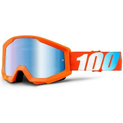 100% Percent NEW Mx Strata Orange Tinted Blue Lens Motocross Dirt Bike Goggles