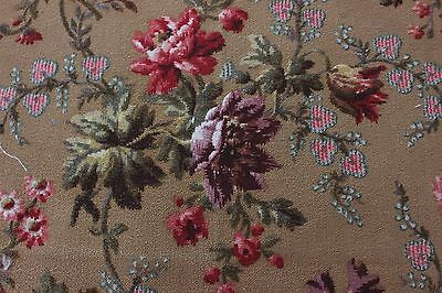 Antique French Victorian Home Weight Floral & Rose Botanical Fabric c1890