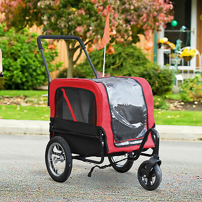 PawHut Deluxe 2-in-1 Pet Jogging Stroller Dog Cat Carrier Bike Bicycle Trailer