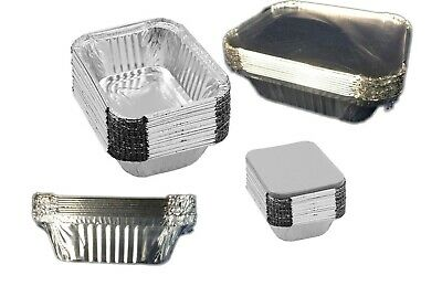 60 Small 14x12cm Foil food Container Tray & Lid Roasting BBQ Takeaway Oven Trays