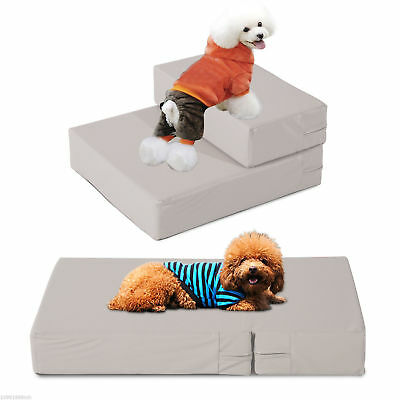 PawHut 2 in 1 Multi-fuctional Dog Cat Bed Pet Folding Stairs Sleeping Mat 2 Step