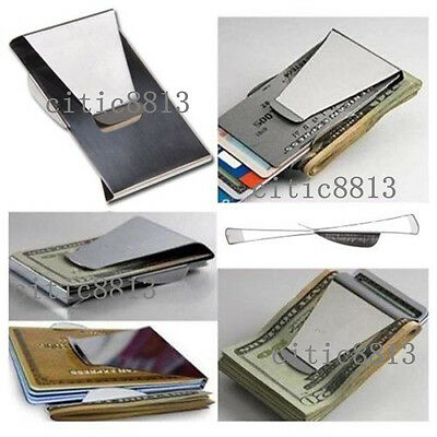 Slim Money Clip Double Sided Cash Credit Card Holder Wallet Stainless Steel Cute