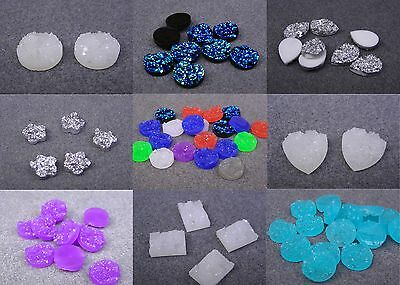 20 Resin Flat Back Faceted Surface Druzy Cabochons. (BOX25)
