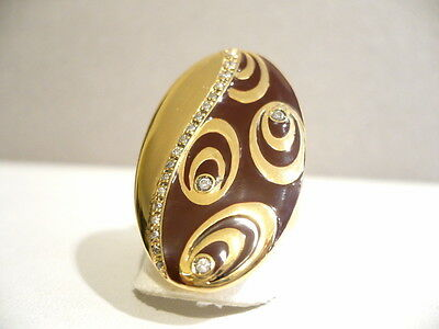 925 Silver Ring Gold Plated Oval Enamelled With Zircons