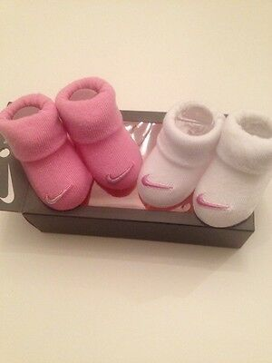 Nike Newborn Infant Baby Girls Pink White Socks Booties Size 0-6 Months Layette