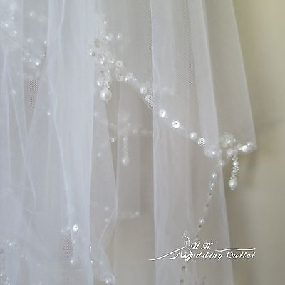 Bridal wedding 2 tiers veil with pearl crystal hand beaded comb white/ivory