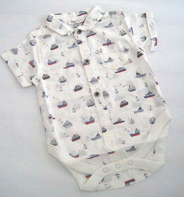 New baby boys nautical ship romper shirt  bodysuit  ex nXt  0-3 3-6 month