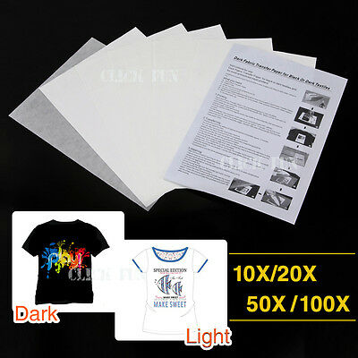 10x/20x/50x/100x A4 Iron Heat Transfer Paper For The Light & Dark Cotton T-shirt