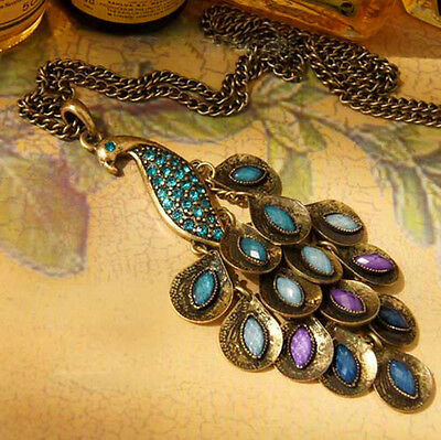Women Rhinestone Bronze Peacock Long Sweater Chain Pendant Necklace Jewelry