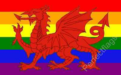 WALES RAINBOW GAY PRIDE FLAG - WELSH NATIONAL FLAGS - Size 5x3 Feet