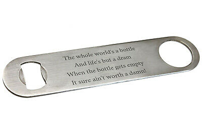 Personalised Stainless Steel Bar Blade Bottle Opener, Any Message Engraved Gift
