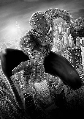 Spiderman Large Poster Art Print Black & White Card or Canvas
