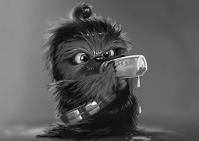 Star Wars Baby Chewbacca Large Poster Art Print Black & White Canvas or Card