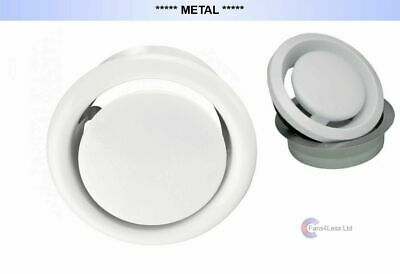 """METAL Air Vent White Ceiling Grille Outlet Inlet Heat Recovery Fan 4"""" 5"""" 6"""""""