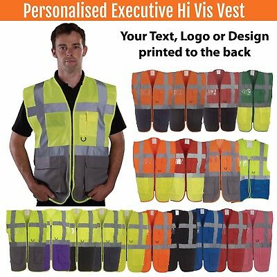 Personalised Hi Vis Zip Executive Vest ID Pocket Hi Viz Vest With Pockets