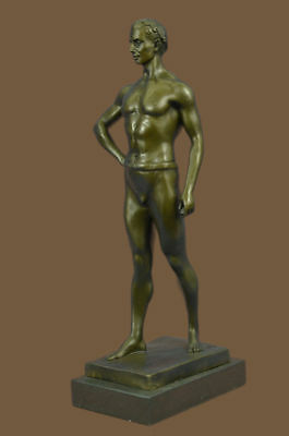 Bronze Metal Ancient Greek Olympian Wrestler Nude Muscular Male Figure Sculpture
