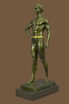 Gold Bronze Ancient Greek Olympian Wrestler Nude Muscular Male Figure Sculpture