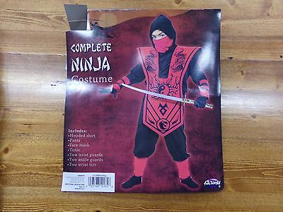 Boys Size Small 6 Complete Ninja Halloween Costume NEW Black & Red