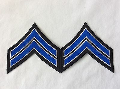 """CPL Rank Stripes 2 Chevrons approximately 3.5"""" wide. White/Blue on Black NYPD"""