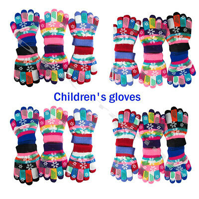 12 -60 Children Magic Gloves Multi Colors Warm Snow Snowflake Winter Xmas Lot
