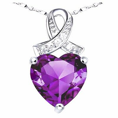 """6.06 Ct Amethyst Heart Cut AAA Pendant Necklace 925 Sterling Silver w/ 18"""" Chain"""