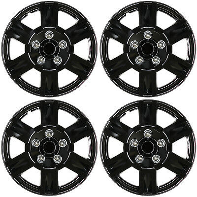 "4 PC SET Hub Caps ( ICE BLACK ) 16"" Inch for OEM Steel Wheel Cover Cap Covers"