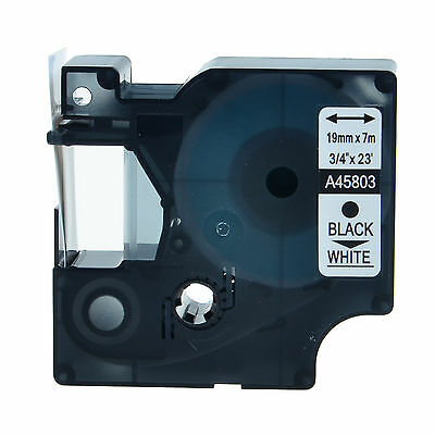 19mm Black White Label Tape Cartridge Compatible For LabelManager DYMO D1 45803