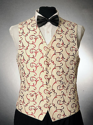 W - 1061. Ivory And Red Silk Finish Waistcoat Wedding/ Dress/ Formal