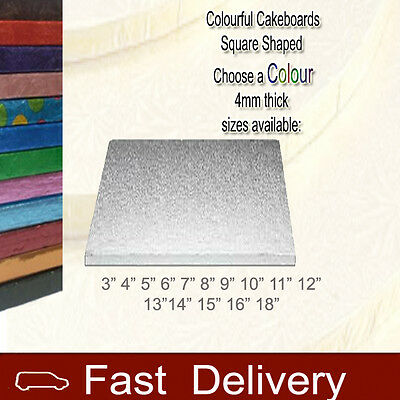 "Christmas Cakeboards 4mm 9"" Thick SQUARE Cake Boards"