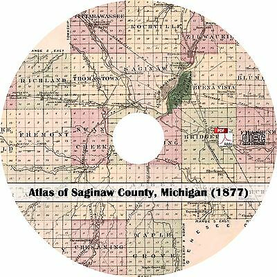 1877 Atlas of Saginaw County, Michigan - History Genealogy Maps Book on CD
