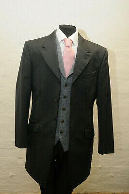 Mj-126.mens Black Herringbone Prince Edward Jacket,wedding, Dress, Funeral, Suit