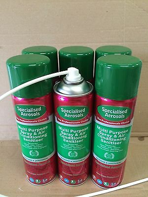 Air Con Sanitiser 500Ml Aerosol X 6 - With  One Applicator Tube