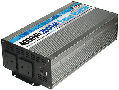 2000W Main Car Camping Power Inverter 230V AC-12V DC With Twin USB Port